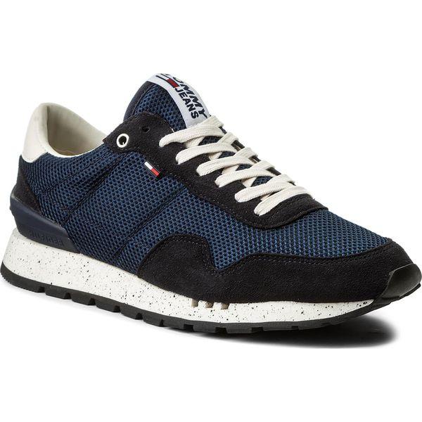 258ec36675ae4 Sneakersy TOMMY JEANS - Lifestyle Sneaker EM0EM00041 Ink 006 - Niebieskie buty  sportowe na co dzień męskie marki Tommy Jeans, z jeansu, klasyczne.