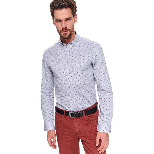 Koszula męska obcisła, slim fit szara TKL0216 koszula