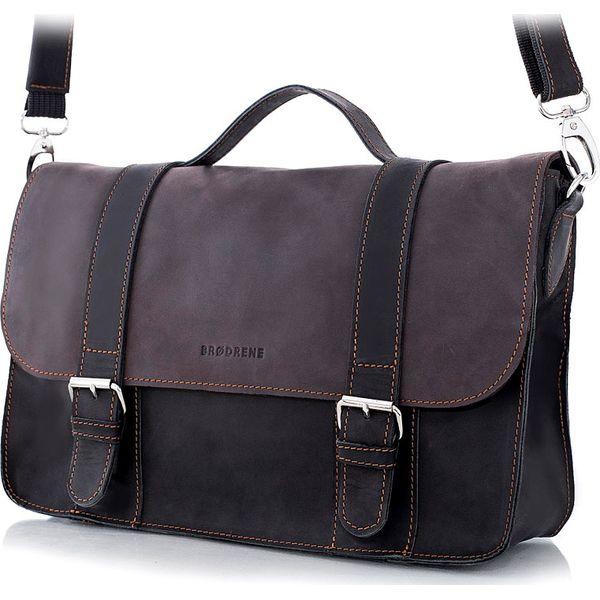 Skórzana torba męska BRODRENE BL11 ciemnobrązowo czarna c. brązowy
