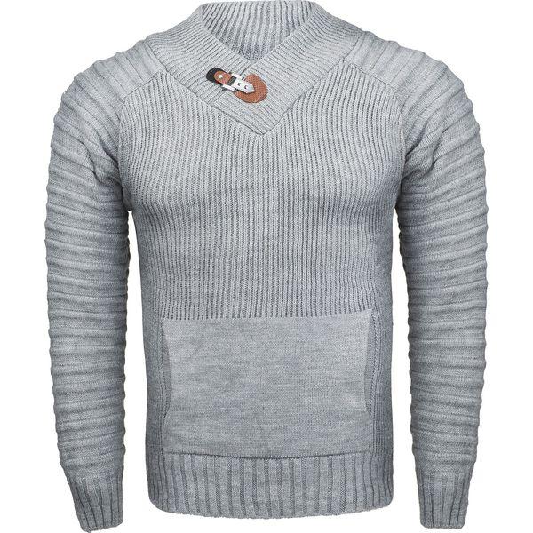 Sweter męski z stójką szary Recea