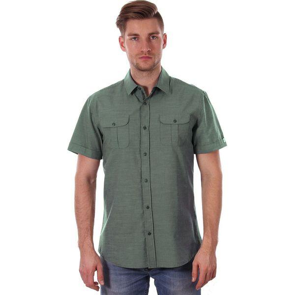 Zielona Koszula Męska, Oliwkowa 100% BAWEŁNA JUST YUPPI  OJYuY