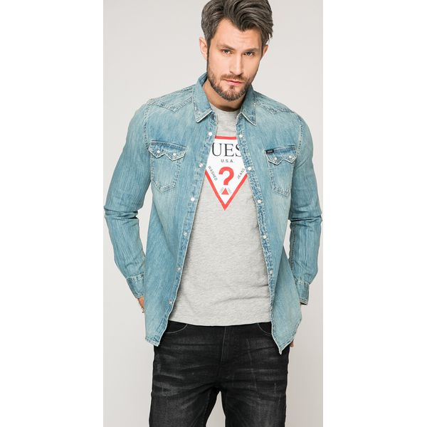 64cd267ee39b52 Guess Jeans - Koszula Connor - Szare koszule męskie Guess Jeans, l ...