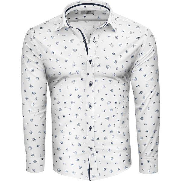 Koszula męska slim biała Recea Białe koszule męskie Recea  EDAYI
