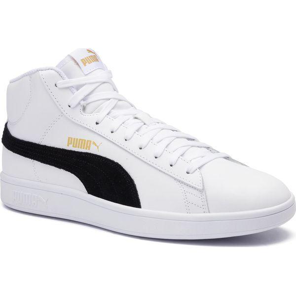 Sneakersy PUMA Smash v2 Mid L 366924 05 WhiteBlackGoldHigh Rise