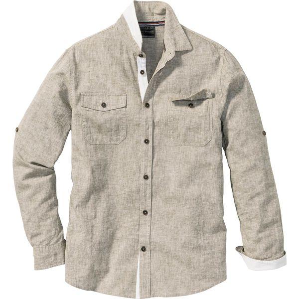 7965b996ed0d1d Koszula z długim rękawem Regular Fit bonprix zielony khaki melanż ...