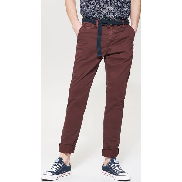 2cb0b9e6 Materiałowe spodnie chino - Bordowy