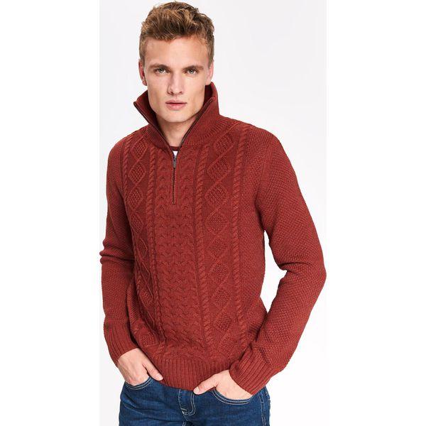 Sweter męski ze stójką na suwak