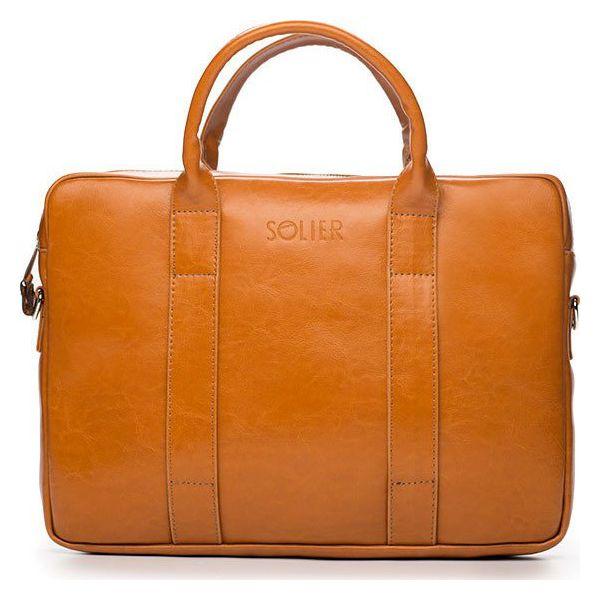 Skórzana torba męska na laptopa Solier jasnobrązowa jasny brąz