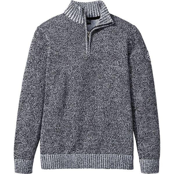 Sweter ze stójką bonprix czarno biały melanż