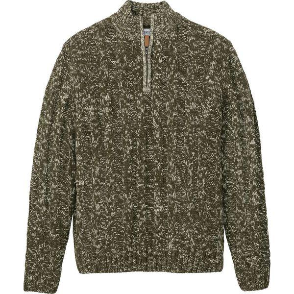 Sweter ze stójką bonprix ciemnooliwkowy melanż