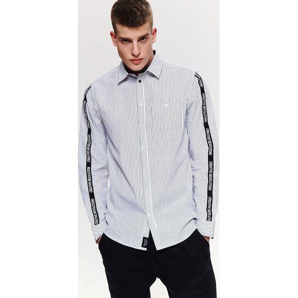 Koszula w paski z lampasem slim fit Białe koszule męskie  tEZ0E