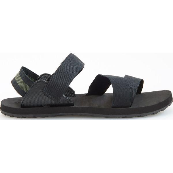 6afa3ef153c607 Czarne sandały z zielonym detalem - Czarny - Czarne sandały męskie ...