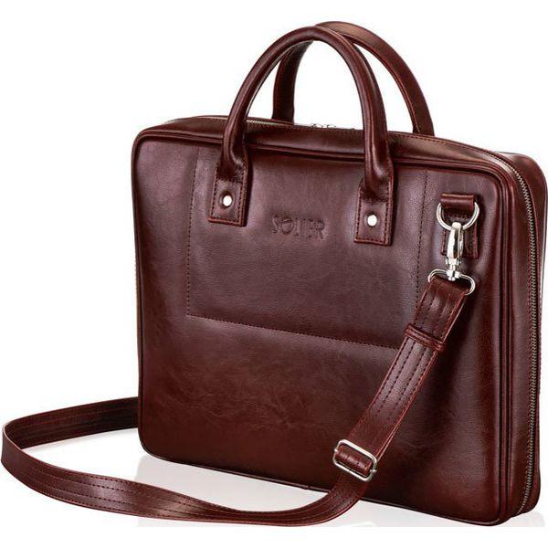 Skórzana torba męska na laptopa burgundowa SOLIER Burgundowy