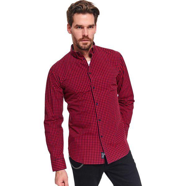 Koszula męska w kratkę o dopasowanym kroju Czerwone