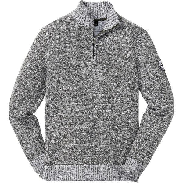 Sweter ze stójką bonprix ciemnooliwkowo biały melanż