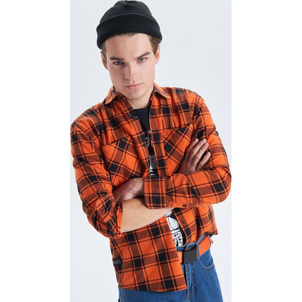 c70354d11d81f2 Koszula w kratę z kolekcji Night Animals - Pomarańczowy - Koszule ...