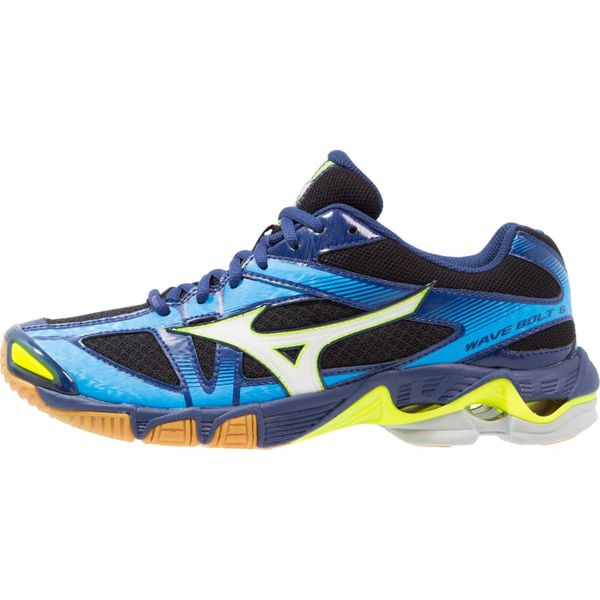 edbd2562 Mizuno WAVE BOLT 6 Obuwie do siatkówki black/white/blue depths ...