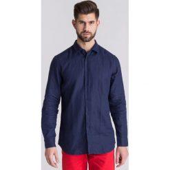 7a0c4b92eebd47 Granatowa lniana koszula męska. Niebieskie koszule męskie TRUSSARDI JEANS,  m, bez wzorów,