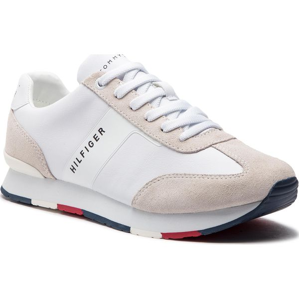 0a1e198619845 Sneakersy TOMMY HILFIGER - Leather Material Mix Runner FM0FM02142 ...