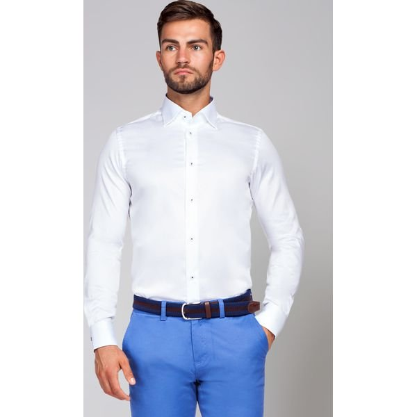 Koszula Biała Chiara 2 Białe koszule męskie LANCERTO, m  pKrJR
