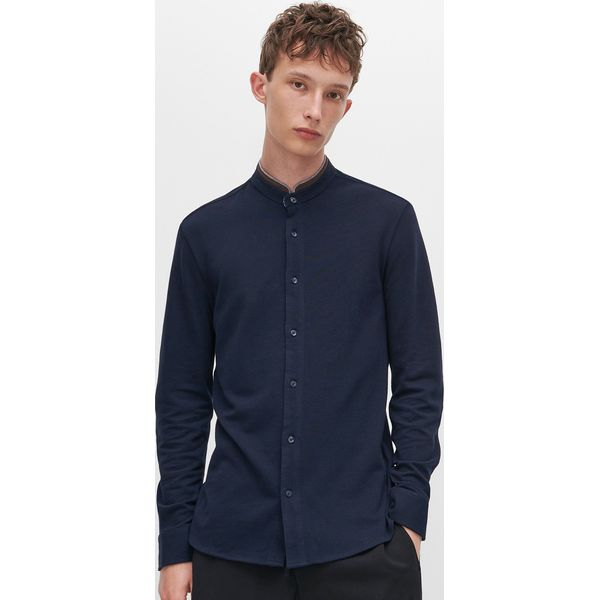 Koszula ze stójką Granatowy Niebieskie koszule męskie  RdZ97