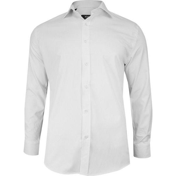 Biała Bawełniana Koszula, Długi Rękaw GRZEGORZ MODA MĘSKA  L2ZxD