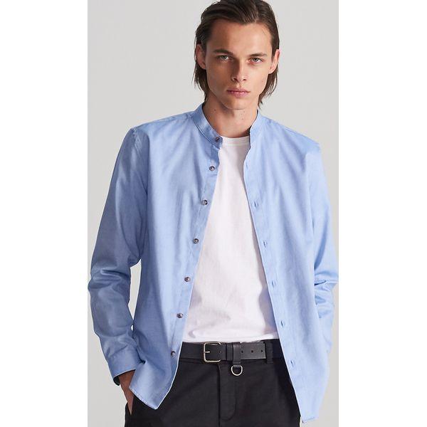 Niebieskie koszule męskie Reserved, ze stójką Kolekcja  ly9tJ