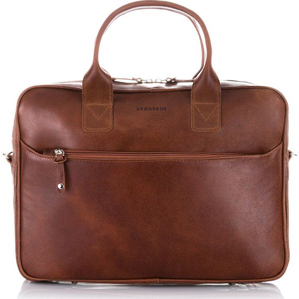 Skórzana torba męska na ramię, laptop Brodrene R12 jasny brąz j. brązowy