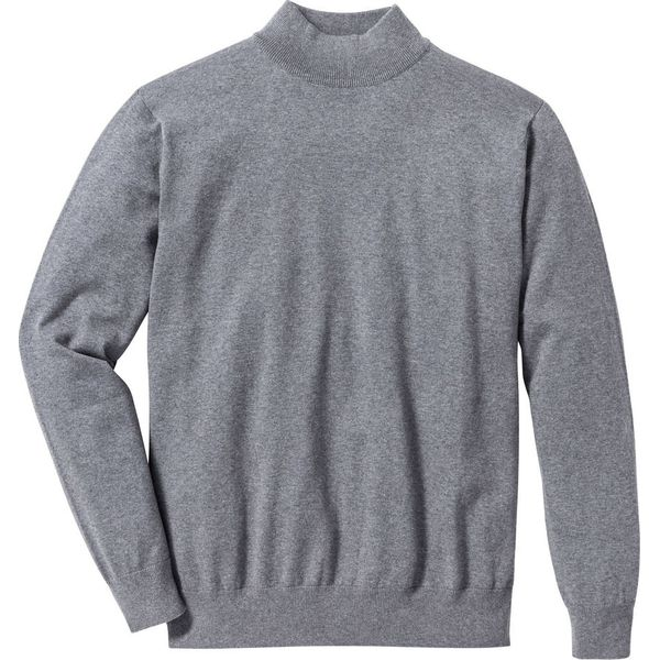 dfc1e7640018 Sweter ze stójką Regular Fit bonprix szary melanż - Szare swetry męskie  marki bonprix