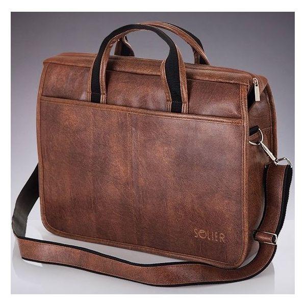 Męska torba na ramię, torba na laptop SOLIER S13 jasnobrązowa jasny brąz