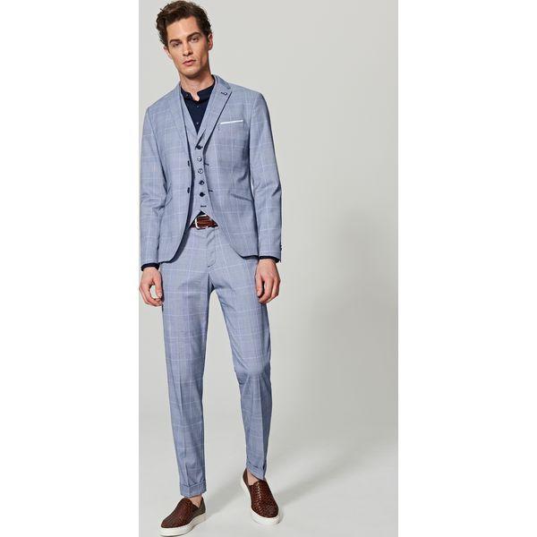c32026a3e571e Spodnie garniturowe w kratę - Niebieski - Niebieskie eleganckie ...