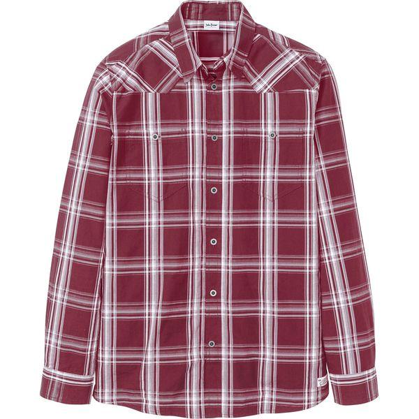 Koszula w kratę w wygodnym fasonie czerwony bonprix