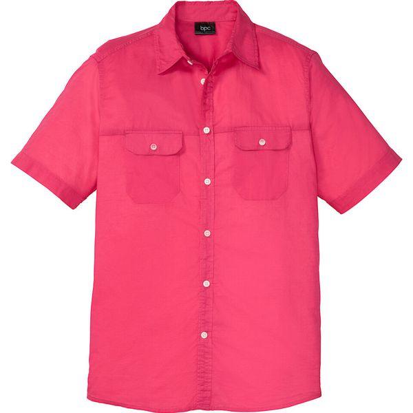 Koszula z krótkim rękawem bonprix różowy hibiskus Czerwone  ocyHk