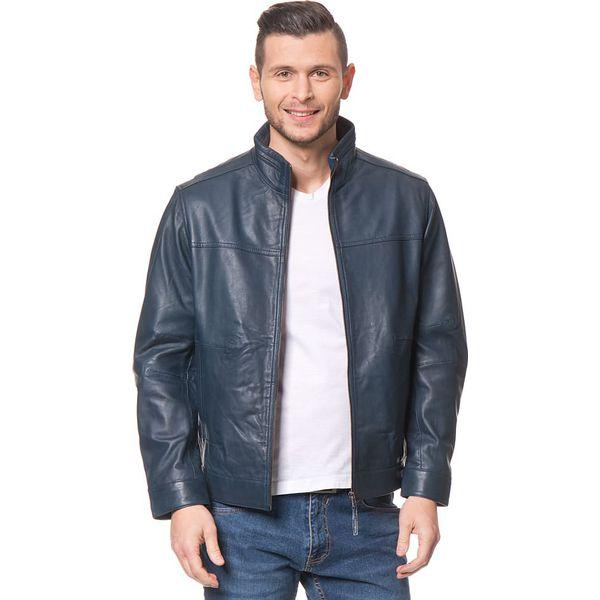 e471ab4b5cd62 Skórzana kurtka w kolorze granatowym - Niebieskie kurtki męskie ...