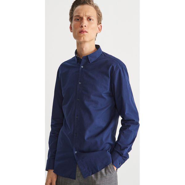 a130b9bb8 Bawełniana koszula slim fit - Granatowy - Koszule męskie marki ...