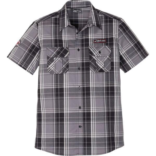Szare koszule męskie z krótkim rękawem Kolekcja wiosna  y7BJl
