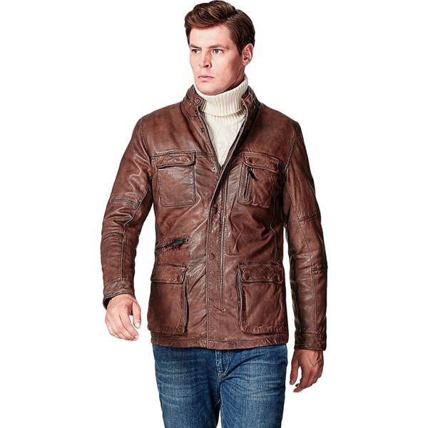 623d70917e846 Skórzana kurtka w kolorze jasnobrązowym - Brązowe kurtki męskie ...